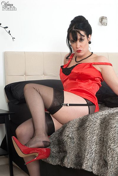 Horny Brunette Tanya Cox In Red Satin Dress Masturbating In Black Stockings And Suspenders Video At Vintageflash
