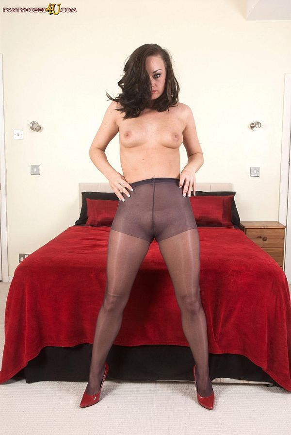 Horny Babe Topless In Shiny Sheer Pantyhose Video At Pantyhosed4u