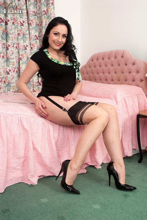 Glamourous Brunette In Seamed Nylon Stockings, Suspenders And Heels At Vintageflash